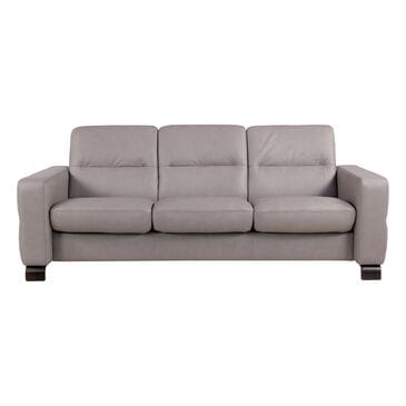 Ekornes Stressless Wave Leather Lo-Back Sofa in Paloma Silver Gray, , large