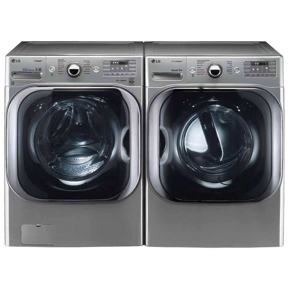 LG 5.2 Cu. Ft. Mega Capacity Front Load Washer and 9.0 Cu. Ft. Mega Capacity Electric Dryer with Steam in Graphite Steel, , large