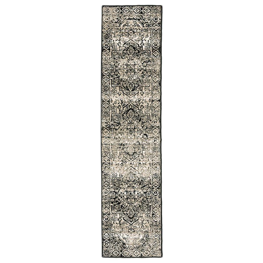 "Oriental Weavers Georgia Medallion 429G0 1'10"" x 7'6"" Gray and Black Runner, , large"