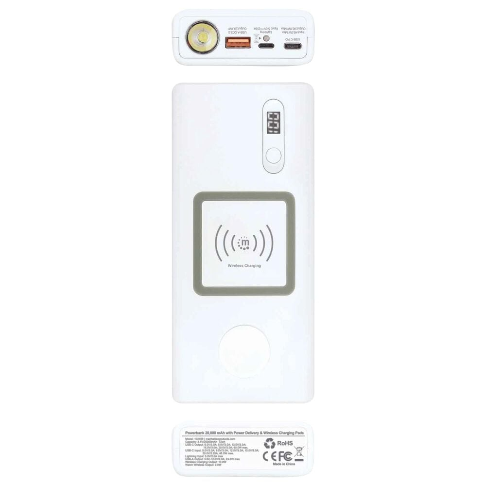 Manhattan Powerbank 20,000 mAh with Power Delivery and Wireless Charging Pads in White and Silver, , large