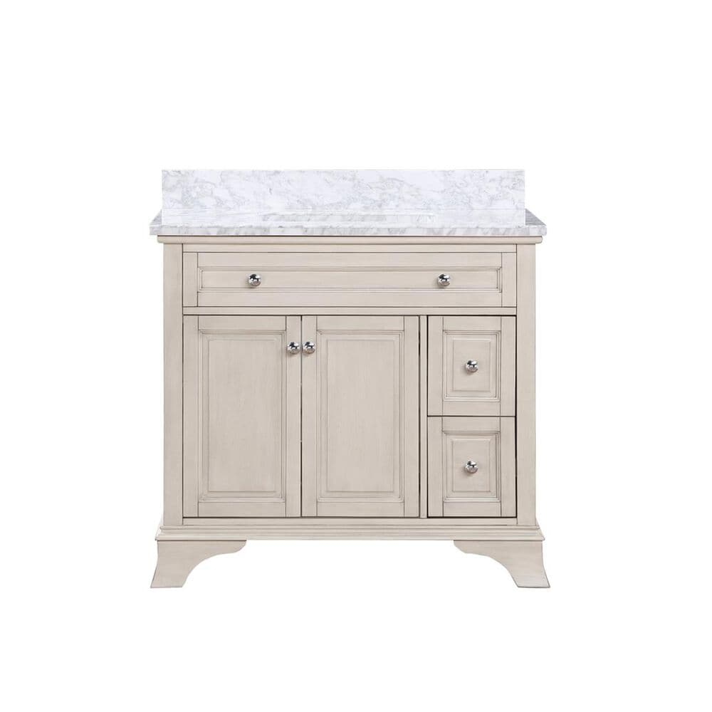 """Aurafina Wainwright 36"""" Vanity with Top and Sink and Rustic White, , large"""