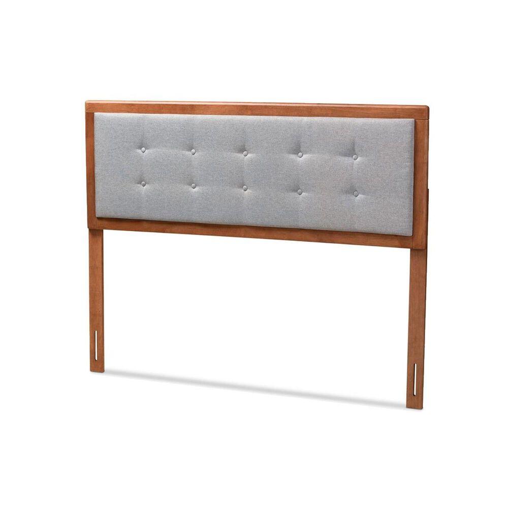 Baxton Studio Sarine Full Upholstered Headboard in Light Gray/Walnut, , large