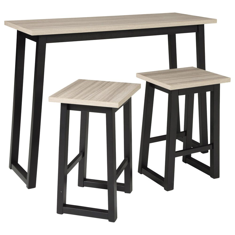 Signature Design by Ashley Waylowe Rectangle Counter Height Dining Set in Black and Light Tan, , large