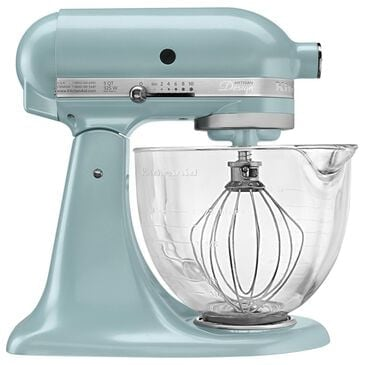 KitchenAid Artisan Design 5 Quart Stand Mixer with Glass Bowl in Azure Blue, , large