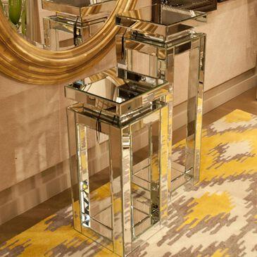 Howard Elliott Tall Mirrored Pedestal Table, , large