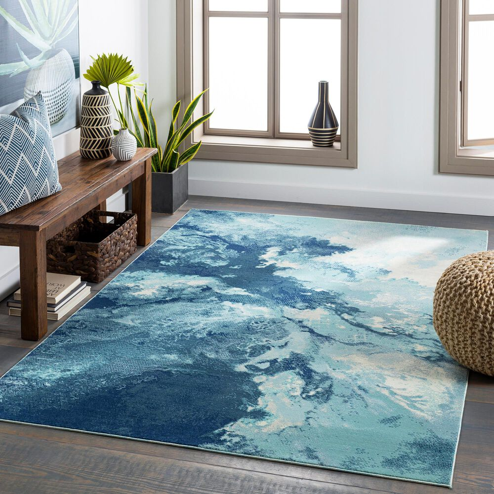 "Surya Bodrum 5'3"" x 7'3"" Ivory, Gray, Navy, Aqua and Blue Area Rug, , large"