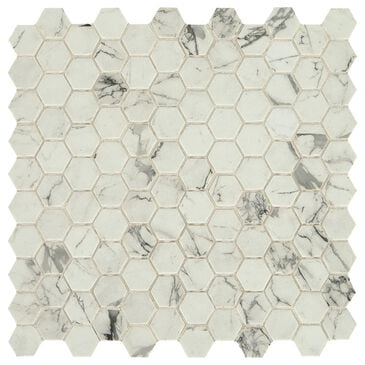 "Dal-Tile Uptown Glass Posh Resort 1"" x 1"" Hexagon on 12"" x 12"" Glass Mosaic Sheet, , large"