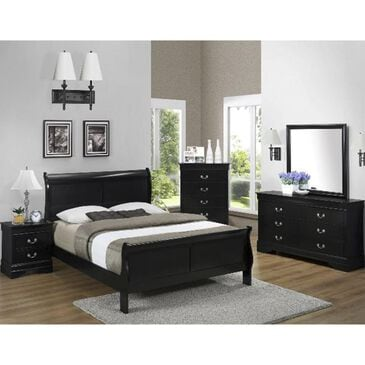 Claremont Louis Philip 4 Piece King Bedroom Set in Black, , large