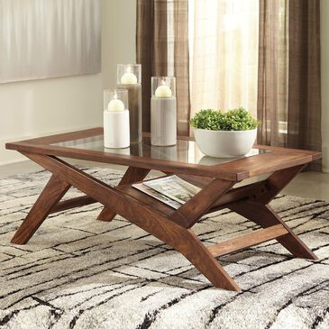 Signature Design by Ashley Charzine Rectangular Cocktail Table in Warm Brown, , large