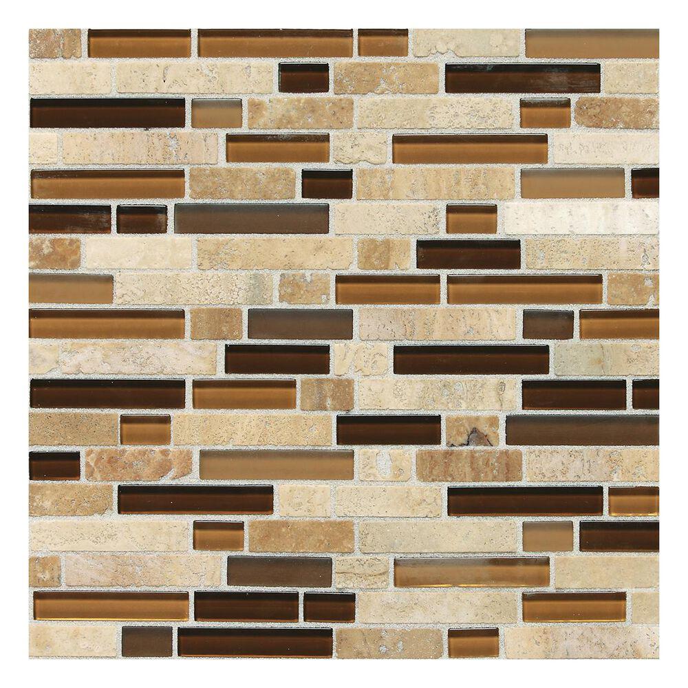 Dal-Tile Stone Radiance Random Size Mosaic Tile in Caramel Travertine, , large