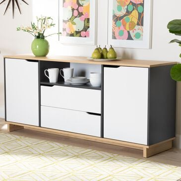 Baxton Studio Reed 2-Door Sideboard in Oak, , large