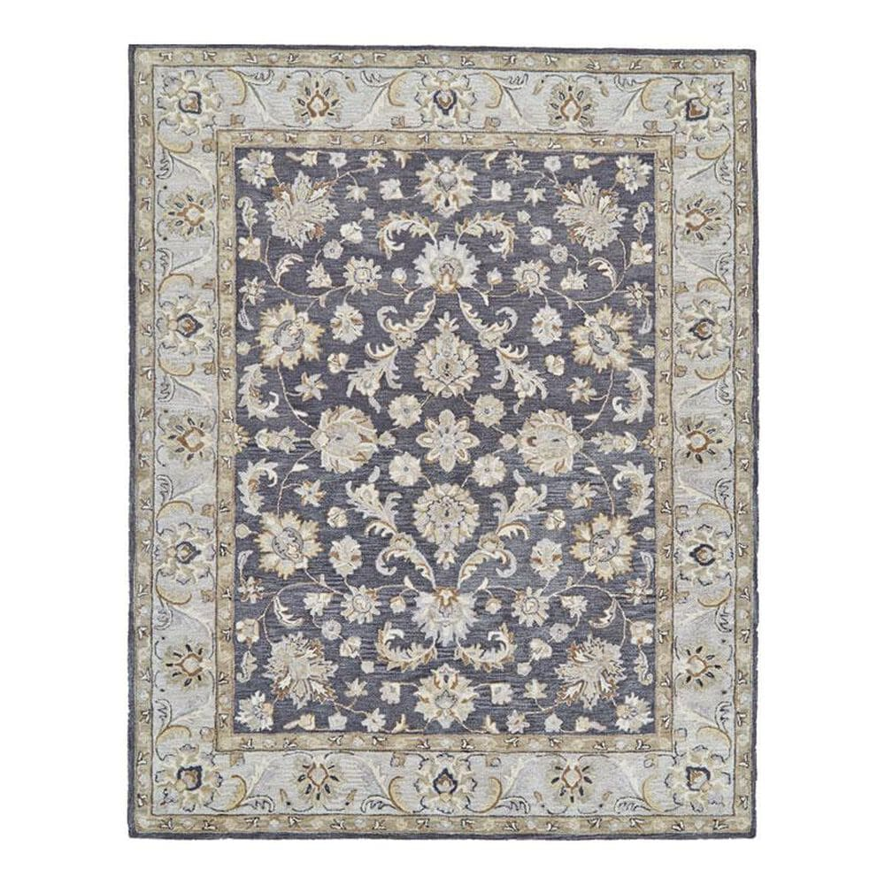 Feizy Rugs Eaton 8397F 8' Round Charcoal Area Rug, , large