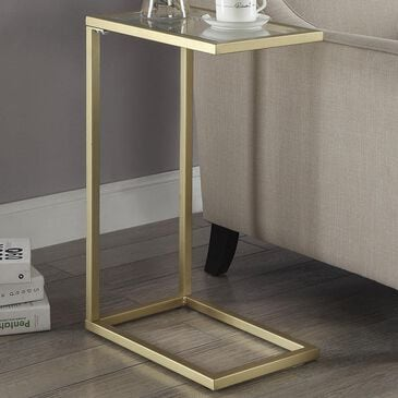 Carolina Cottage Kelli Accent C Table in Tempered Glass and Gold, , large