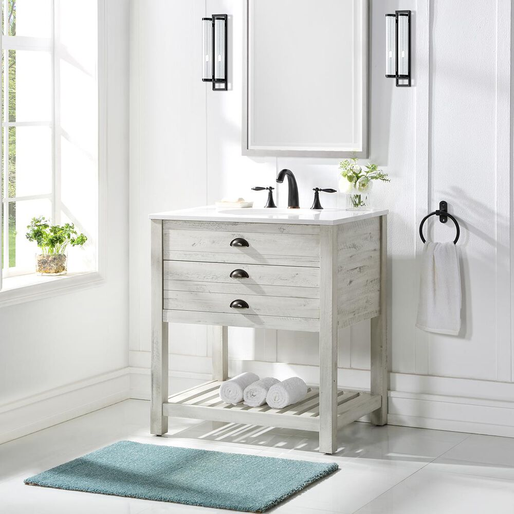 "Coast To Coast Imports 30"" Vanity With Top, Single Sink, 1 Drawer in White, , large"