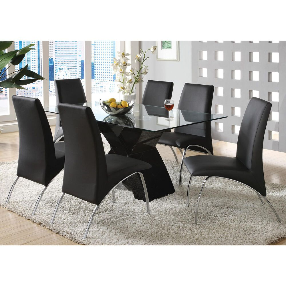 Furniture of America Warner 7-Piece Dining Set in Black, , large