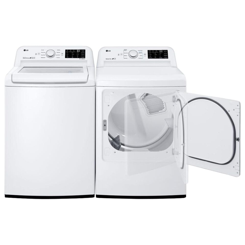 LG 4.5 Cu. Ft. Top Load Washer and 7.3 Cu. Ft. Electric Dryer with Sensor Dry Technology in White, , large