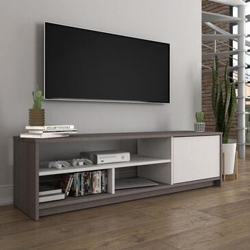 """Bestar Small Space 53.5"""" TV Stand in Bark Gray and White, , large"""