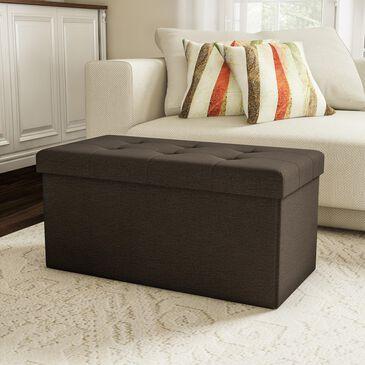 Timberlake Lavish Home Large Folding Storage Ottoman in Dark Brown, , large
