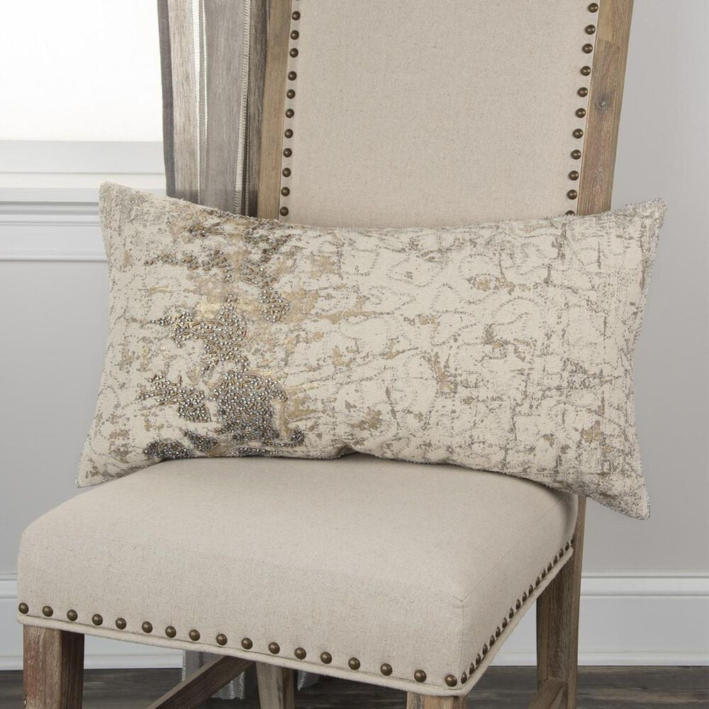 """Rizzy Home 14"""" x 26"""" Down Pillow in Beige, , large"""