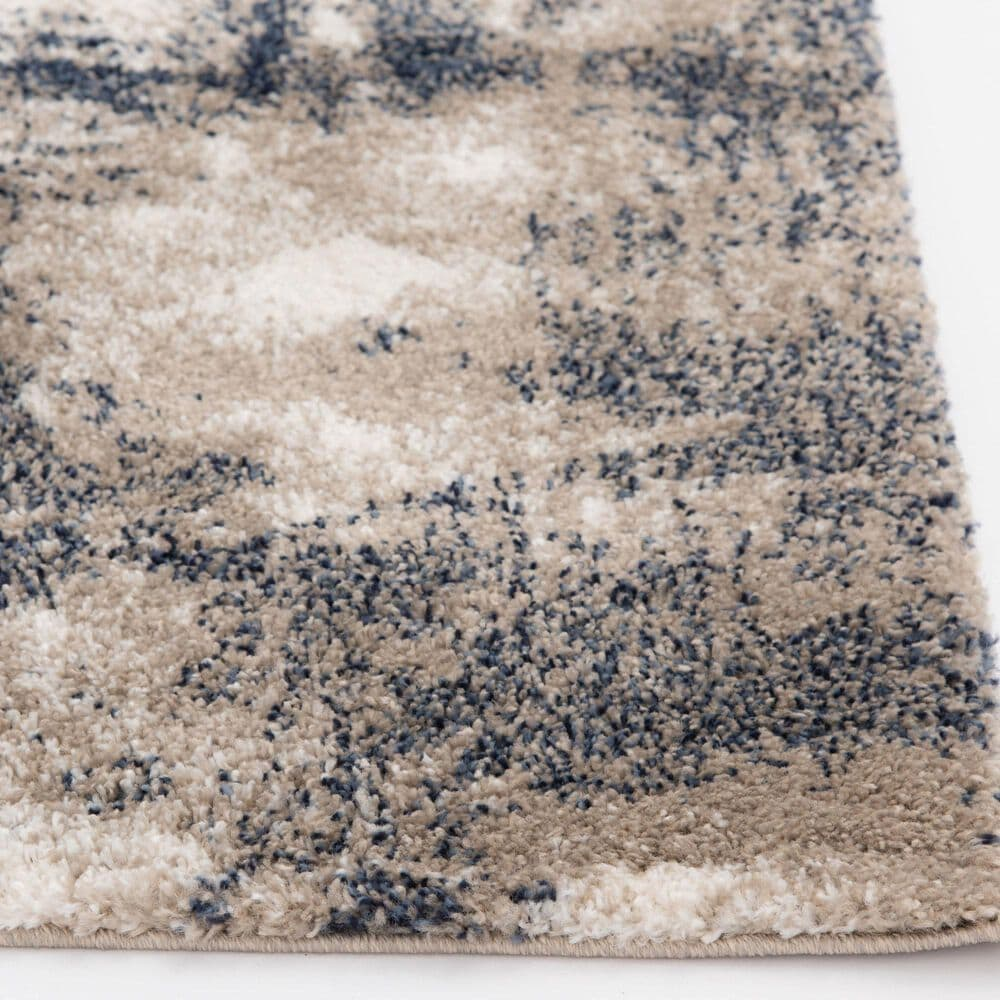 Central Oriental Tulsa Brunsville 9849CRN 5' x 7' White Sand and Blue Navy Area Rug, , large