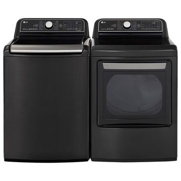 LG 5.5 Cu. Ft. Top Load Washer and 7.3 Cu. Ft. Electric Dryer in Black Steel, , large