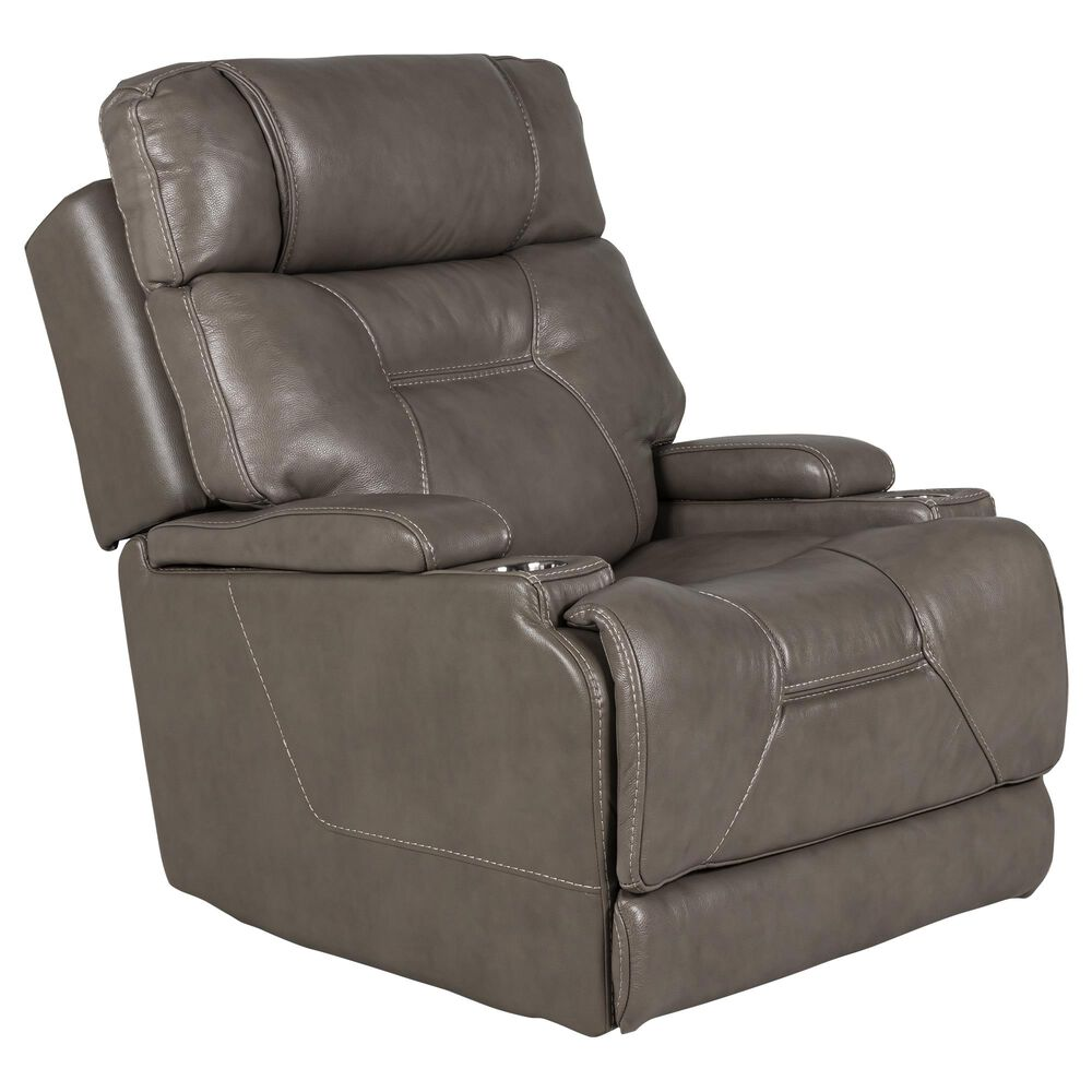 Motion Magic Leather Power Lay Flat Recliner with Headrest and Lumbar in Madison Dove, , large
