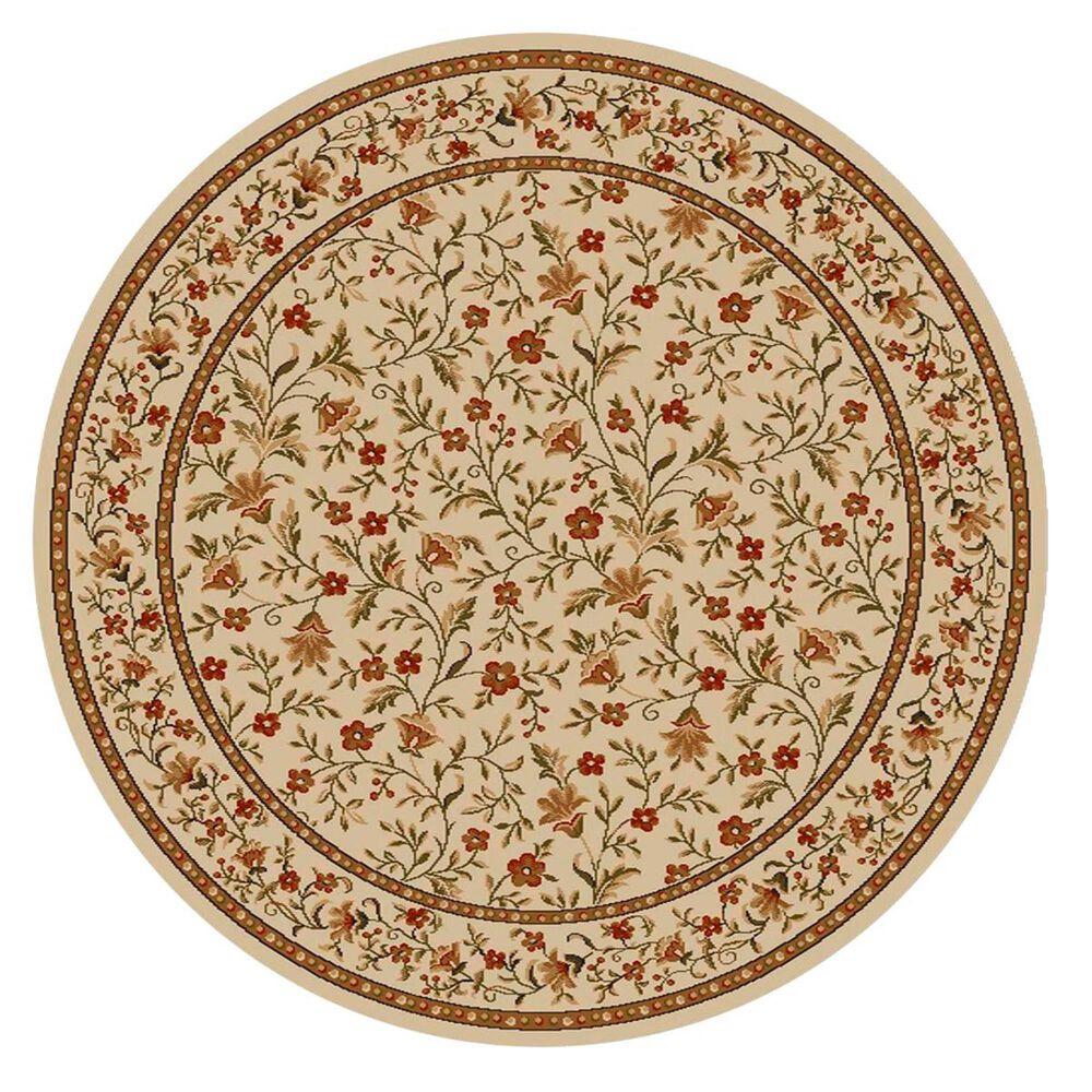 Radici USA Bergamo 1593 8' Round Ivory Area Rug, , large