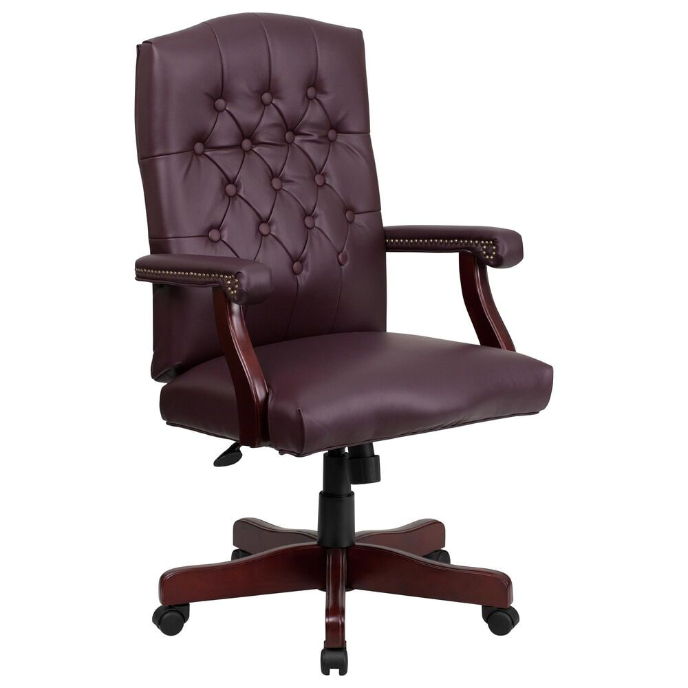 Flash Furniture Martha Washington Executive Swivel Chair in Burgundy, , large