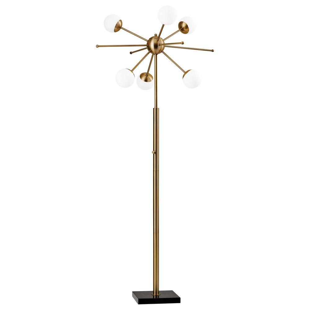 Adesso Doppler LED Floor Lamp in Antique Brass, , large