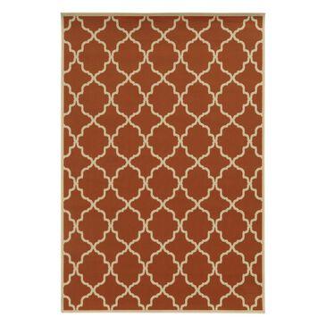 "Oriental Weavers Riviera 4770D 5'3"" x 7'6"" Orange/Ivory Outdoor Rug, , large"