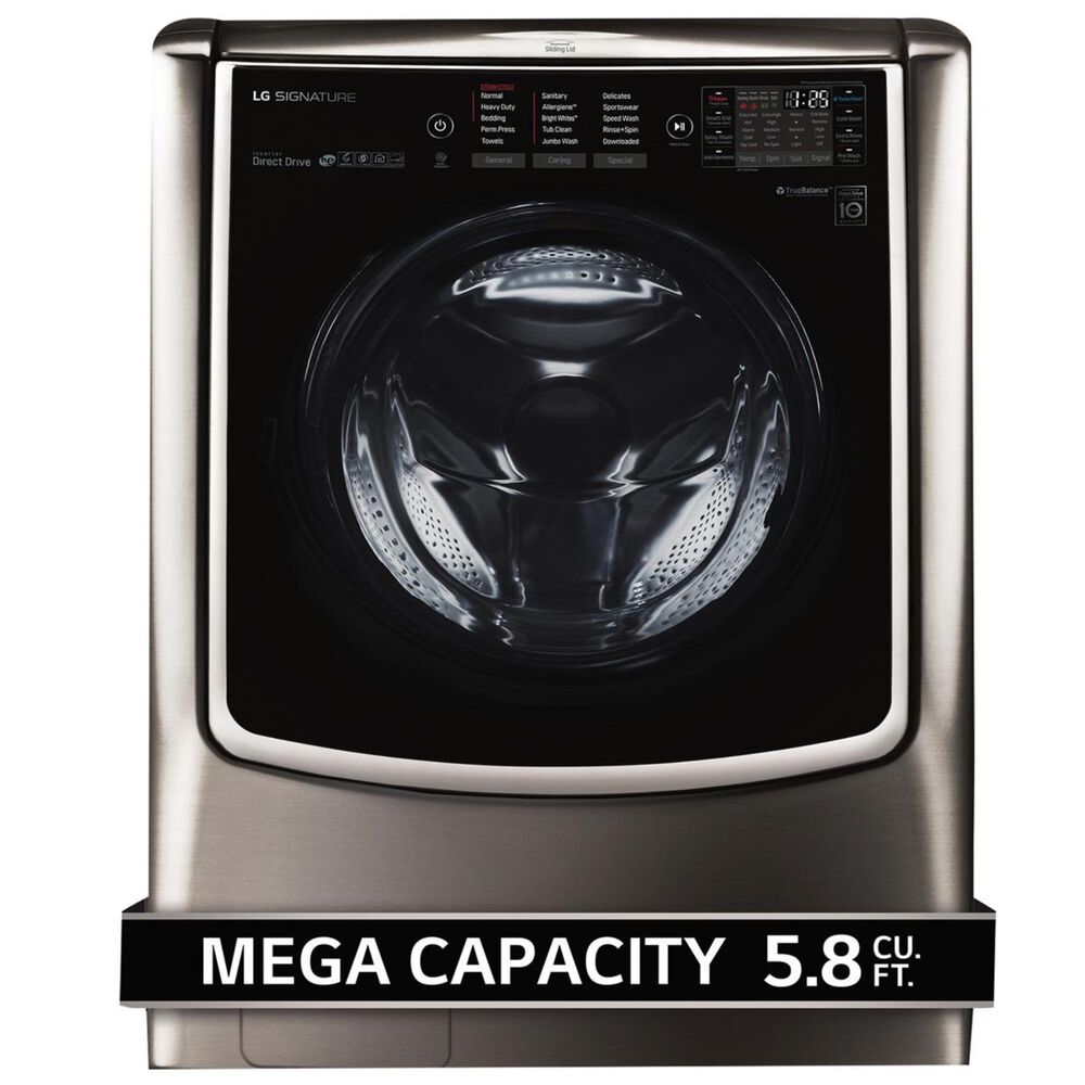 LG SIGNATURE 5.8 Cu Ft. Mega Capacity Washer in Black Stainless Steel, , large