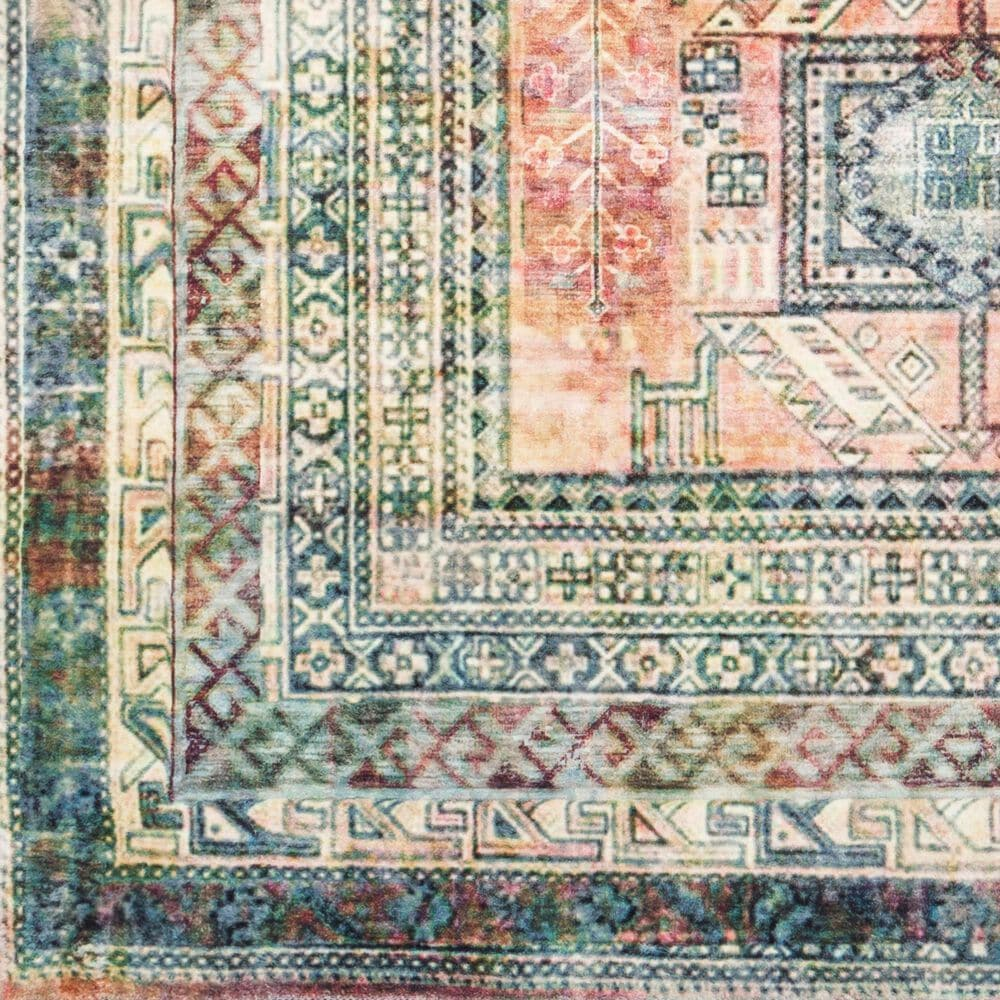 "Surya Erin 2'6"" x 7'6"" Blue, Sage and Coral Runner, , large"