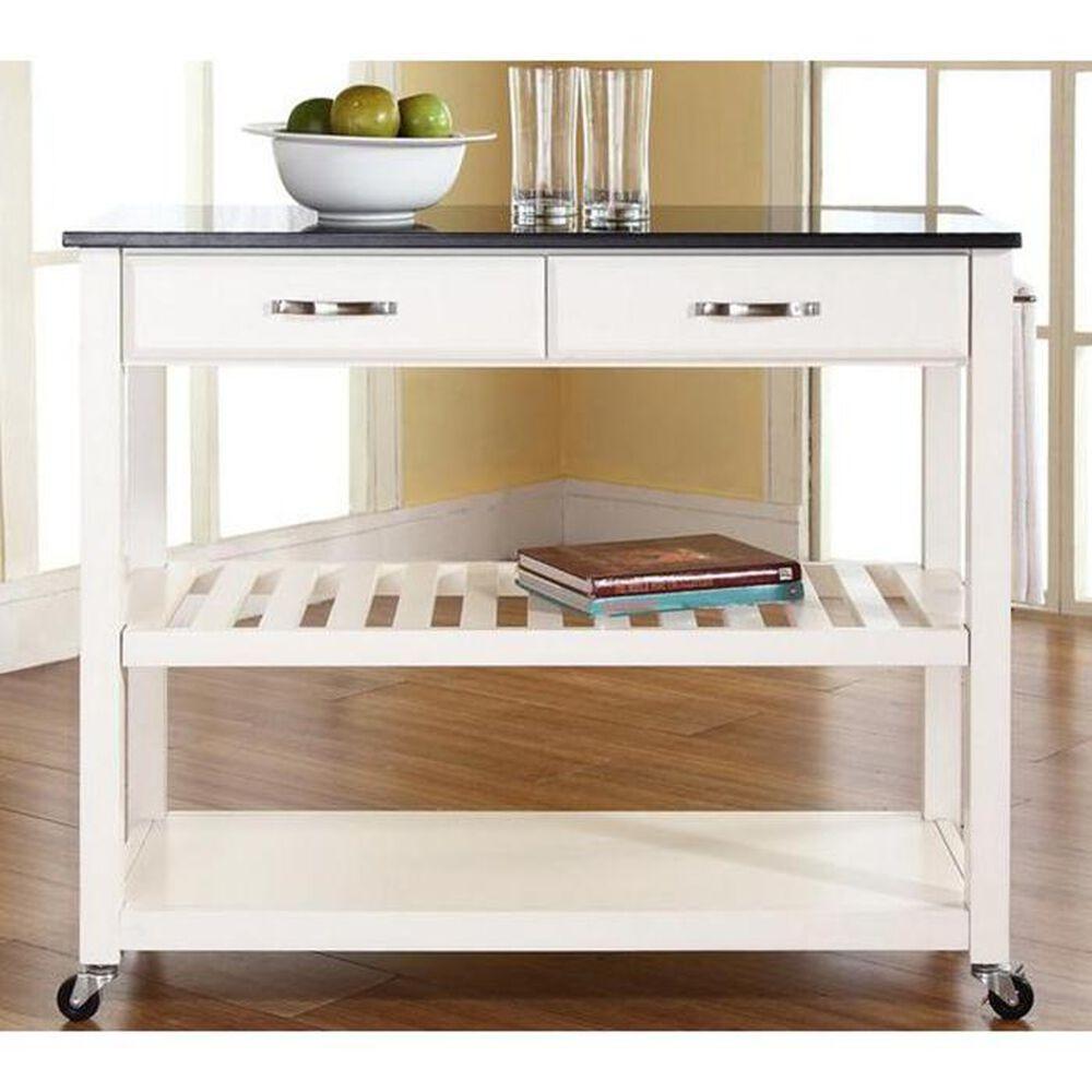 Crosley Furniture White Solid Black Granite Top Kitchen Cart, , large
