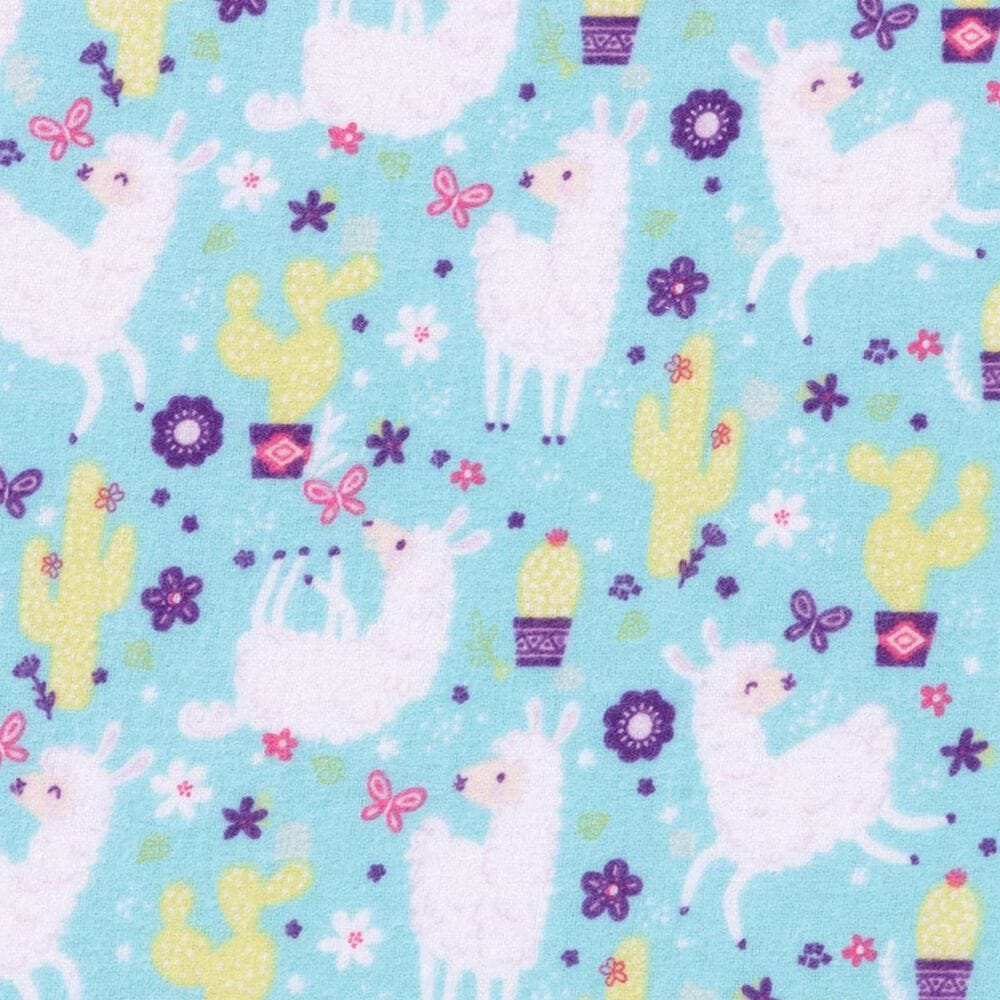 Trend Labs Llama Deluxe Flannel Fitted Crib Sheet in Teal, , large