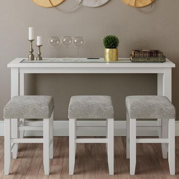 Waltham Urban Icon Sofa Console with 3 Stools in Polished White, , large