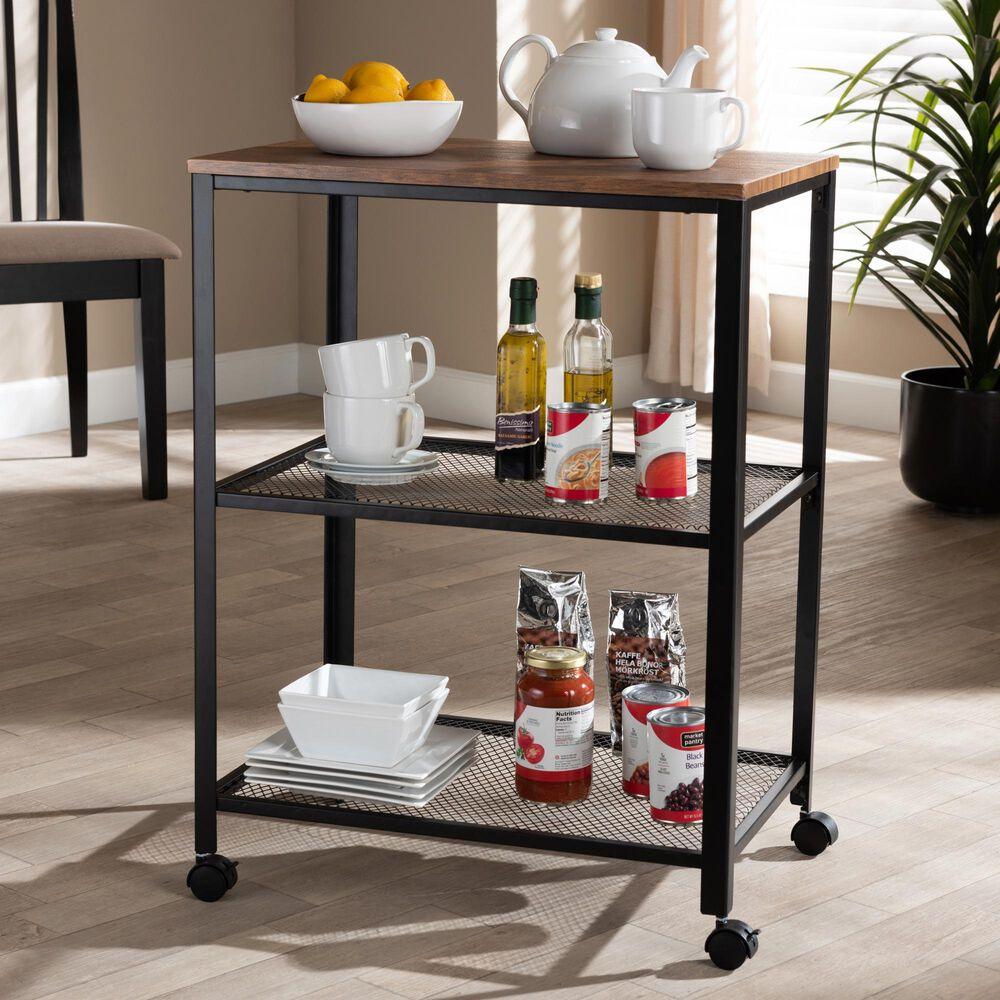 Baxton Studio Verna Kitchen Serving Cart in Oak Brown, , large