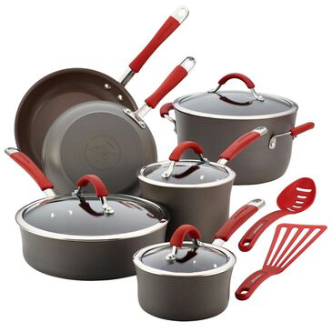 Rachael Ray Cucina Hard-Anodized Nonstick 12-Piece Cookware Set in Red, , large