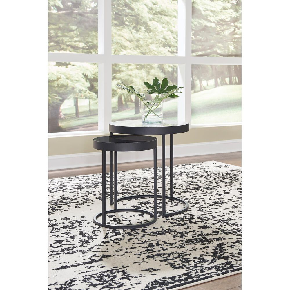 Signature Design by Ashley Windron Nesting End Tables in Black and White Marble (Set of 2), , large