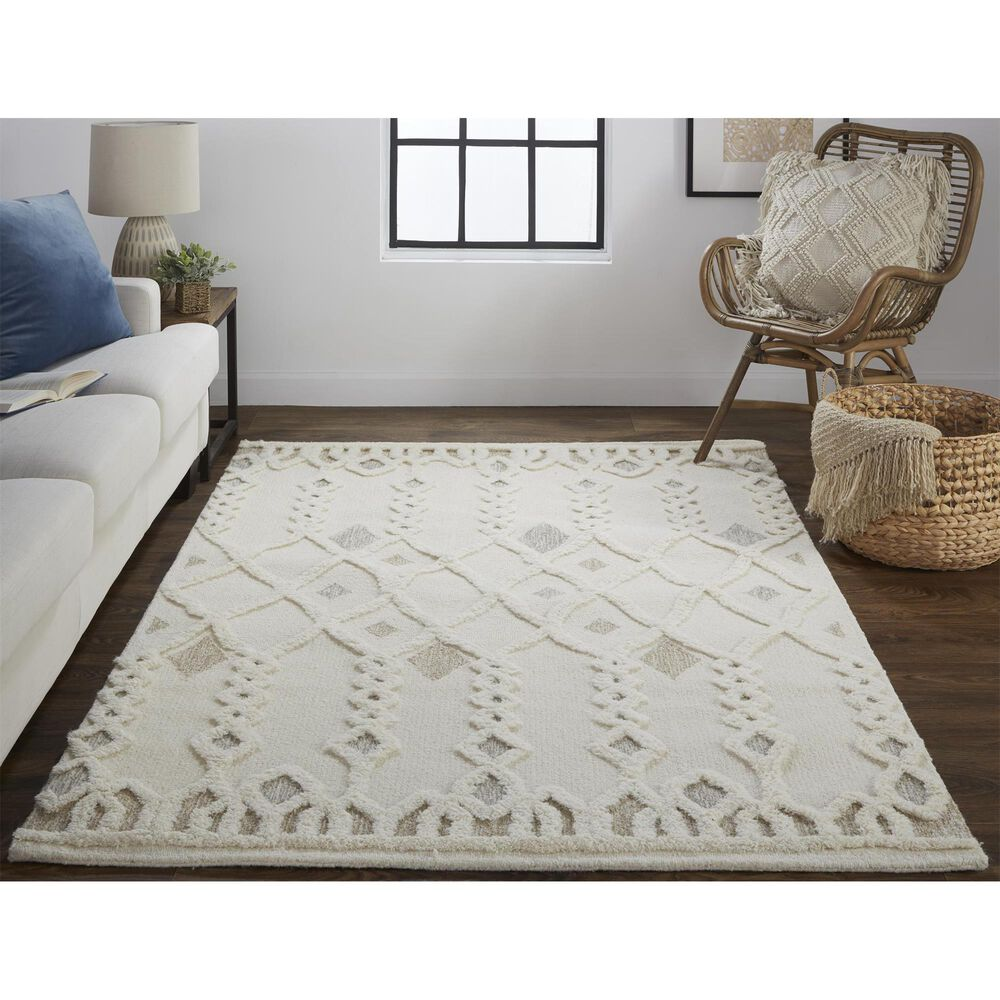 Feizy Rugs Anica 8011F 4' x 6' Ivory Area Rug, , large