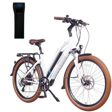 Magnum Metro Electric Low Step Bike in Matte White + Foldylock Compact Bike Lock in Black, , large