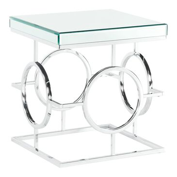 Mayberry Hill Pearl End Table in Mirror and Chrome, , large