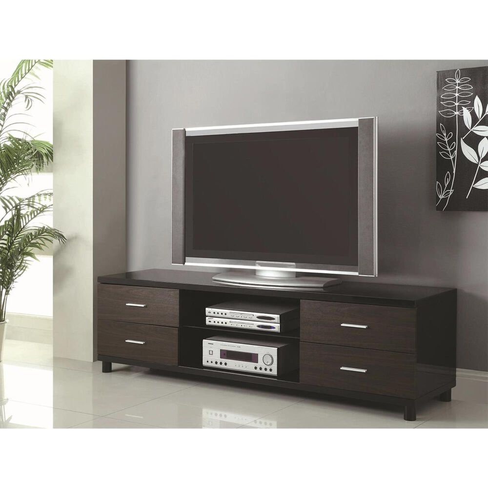 Pacific Landing 4 Drawer TV Stand with 2 Shelves in Black, , large
