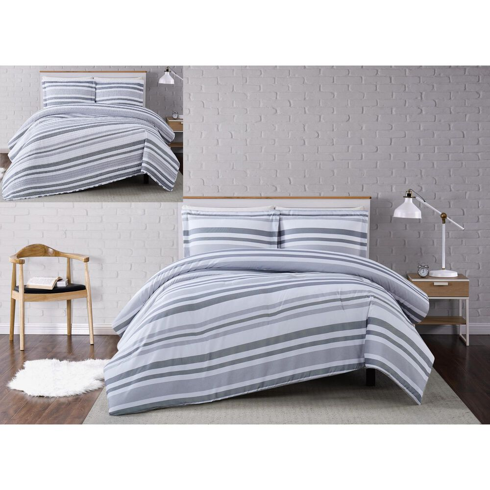 Pem America Truly Soft Curtis 2-Piece Twin XL Quilt Set in White and Grey, , large
