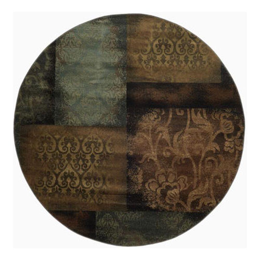 "Oriental Weavers Hudson 4878B 7""8"" Round Blue/Brown Area Rug, , large"