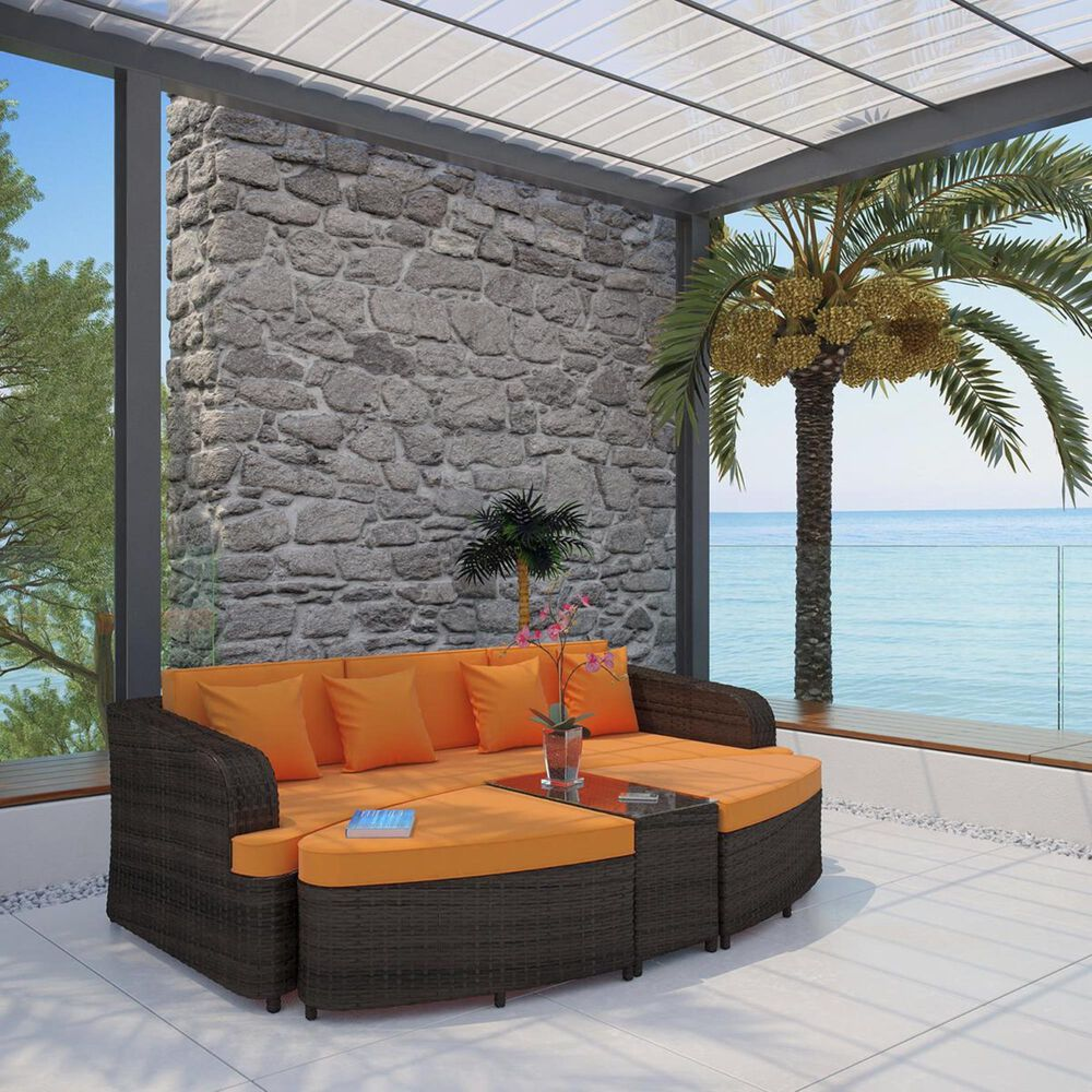 Modway Monterey 4-Piece Outdoor Patio Sofa Set in Brown and Orange, , large