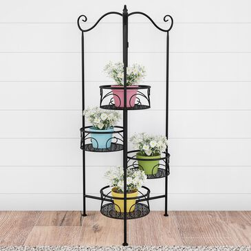 Timberlake Pure Garden 4-Tier Plant Stand in Black, , large