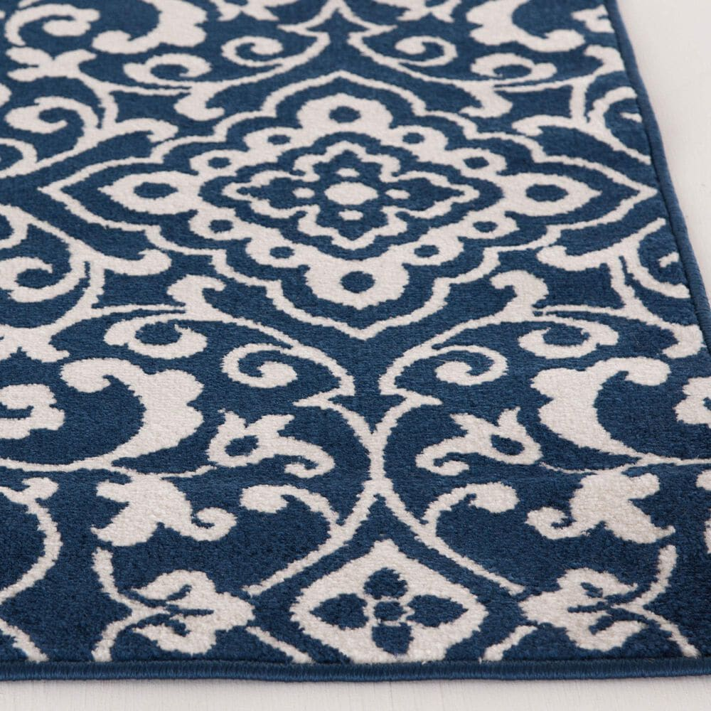 "Central Oriental Terrace Tropic Mcbee 2302PN.084 5' x 7'3"" Sapphire and Snow Area Rug, , large"