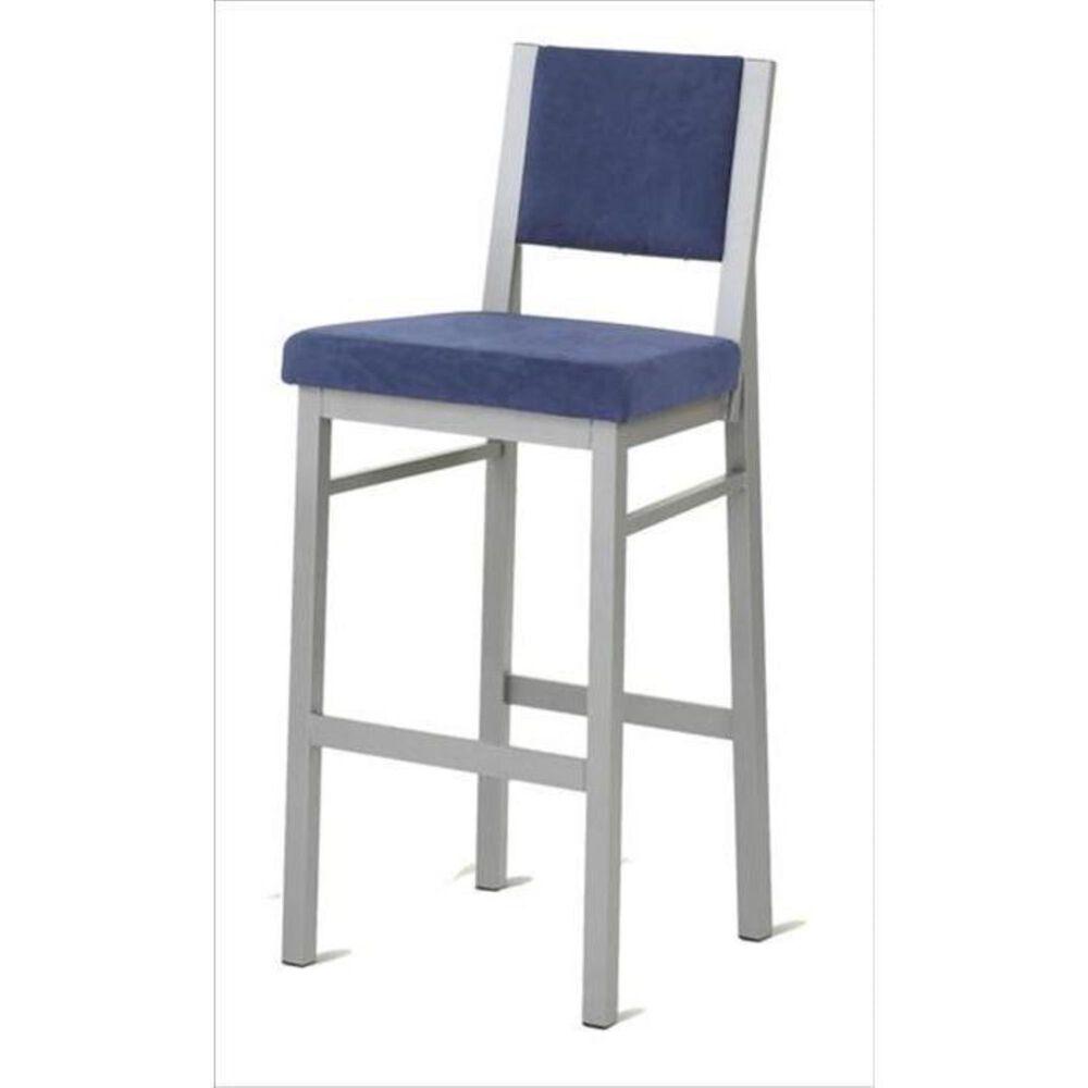 "Amisco 30"" Metal with Blue Cushion Bar Stool, , large"