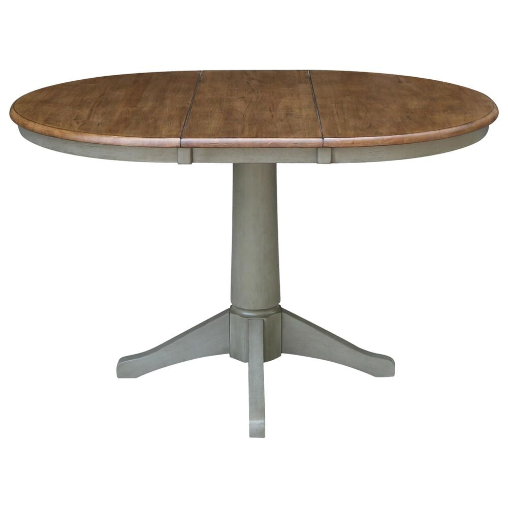 """International Concepts 36"""" Modern Farmhouse Round Extension Dining Table in Hickory/Stone, , large"""