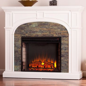 Southern Enterprises Fael Electric Fireplace in White/Montelena Faux Stone, , large